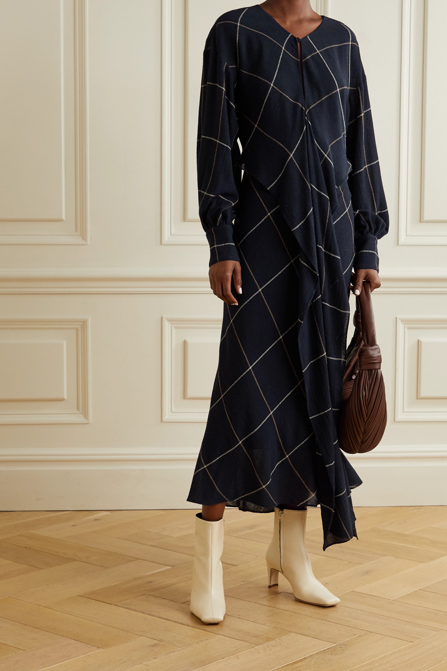 Three Graces London Victoria draped checked woven maxi dress
