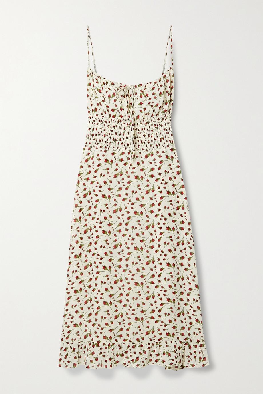 Reformation Genie shirred floral-print crepe midi dress