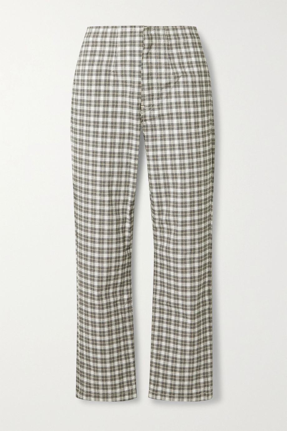 Reformation Lela checked stretch-cotton straight-leg pants