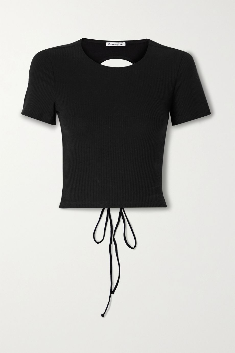Reformation Open-back ribbed stretch-Tencel top