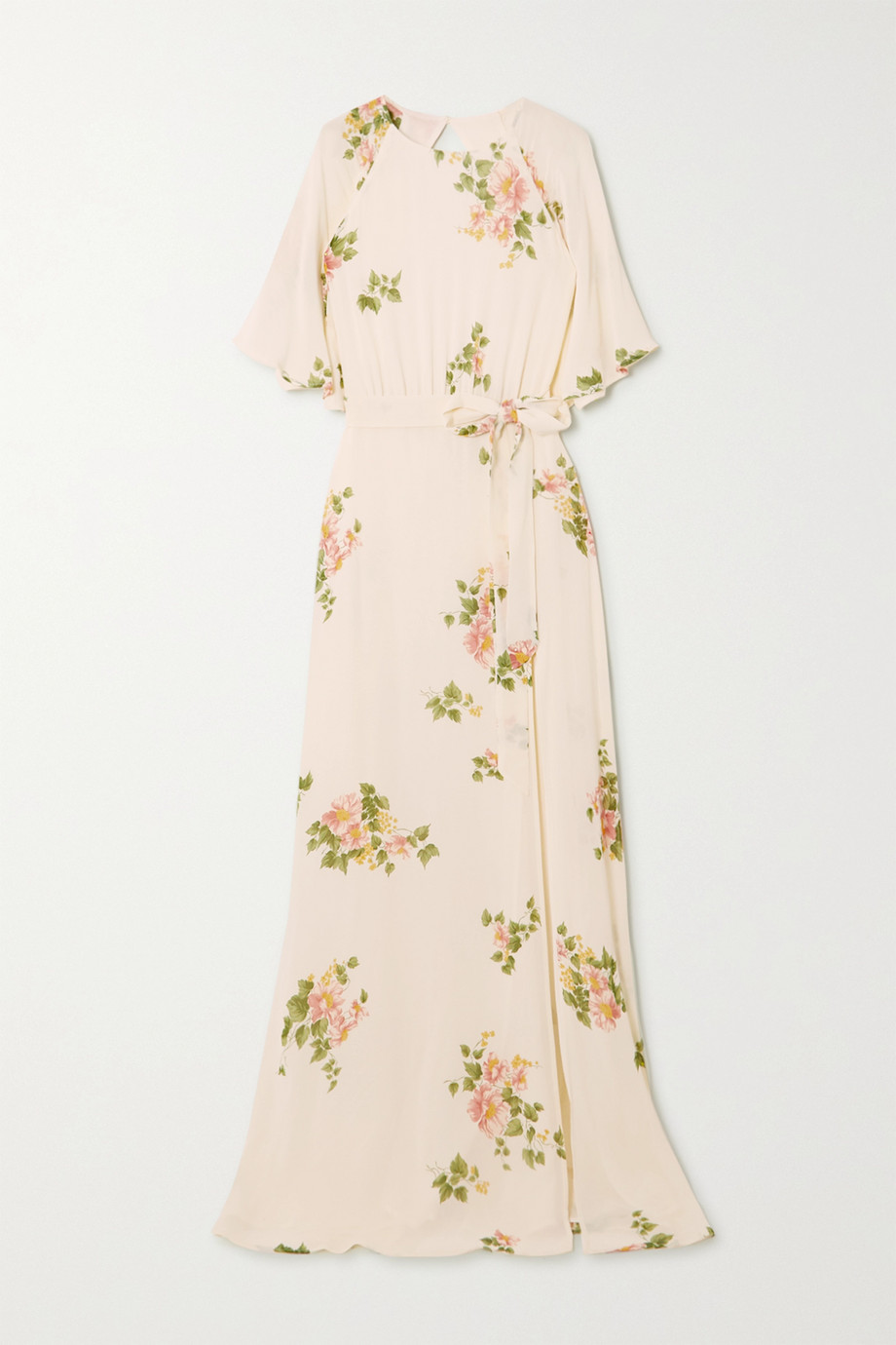 Reformation Pansy open-back belted floral-print georgette maxi dress