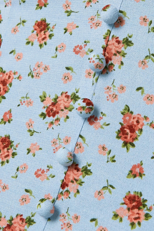 Reformation Bev ruffled floral-print crepe blouse