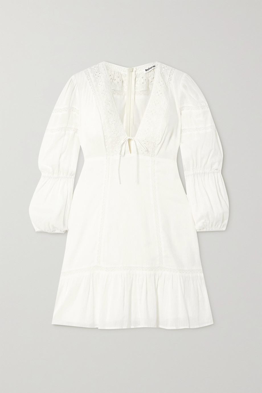 Reformation Cecille broderie anglaise-trimmed organic cotton-voile mini dress