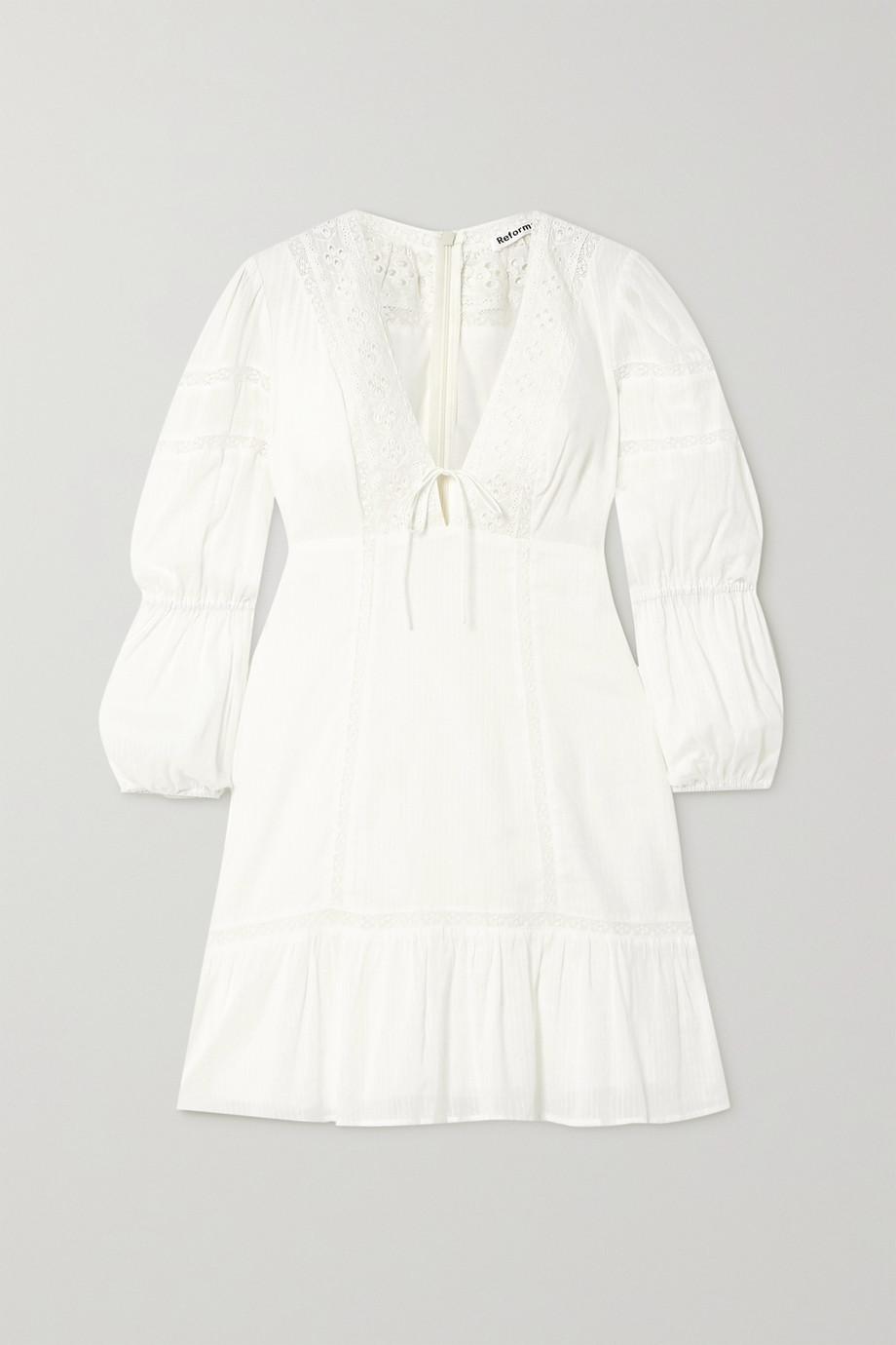Reformation Cecille 马德拉刺绣边饰有机纯棉巴里纱迷你连衣裙