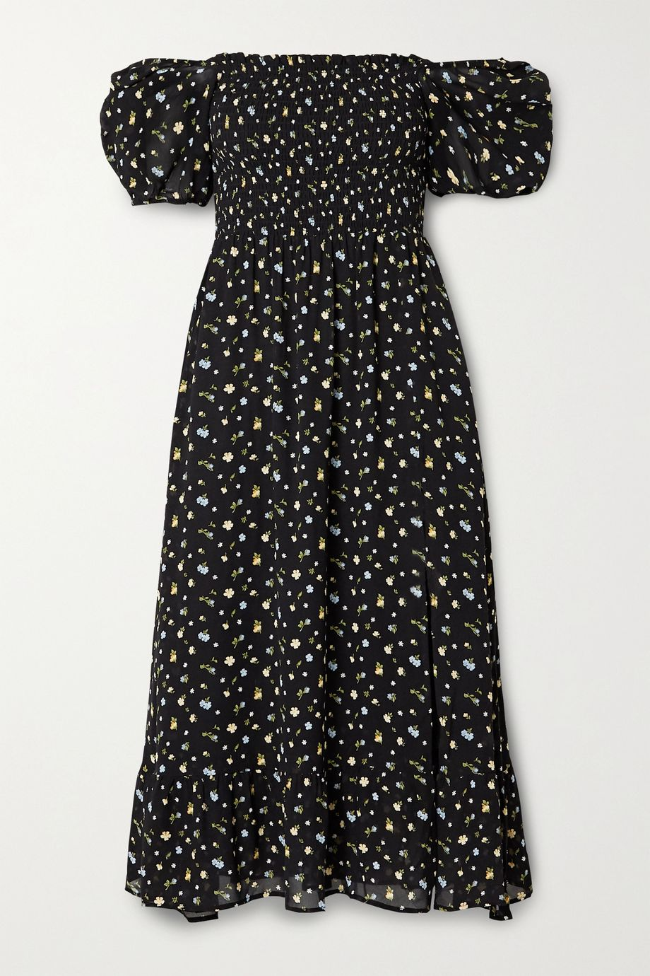 Reformation Meadow smocked floral-print georgette midi dress