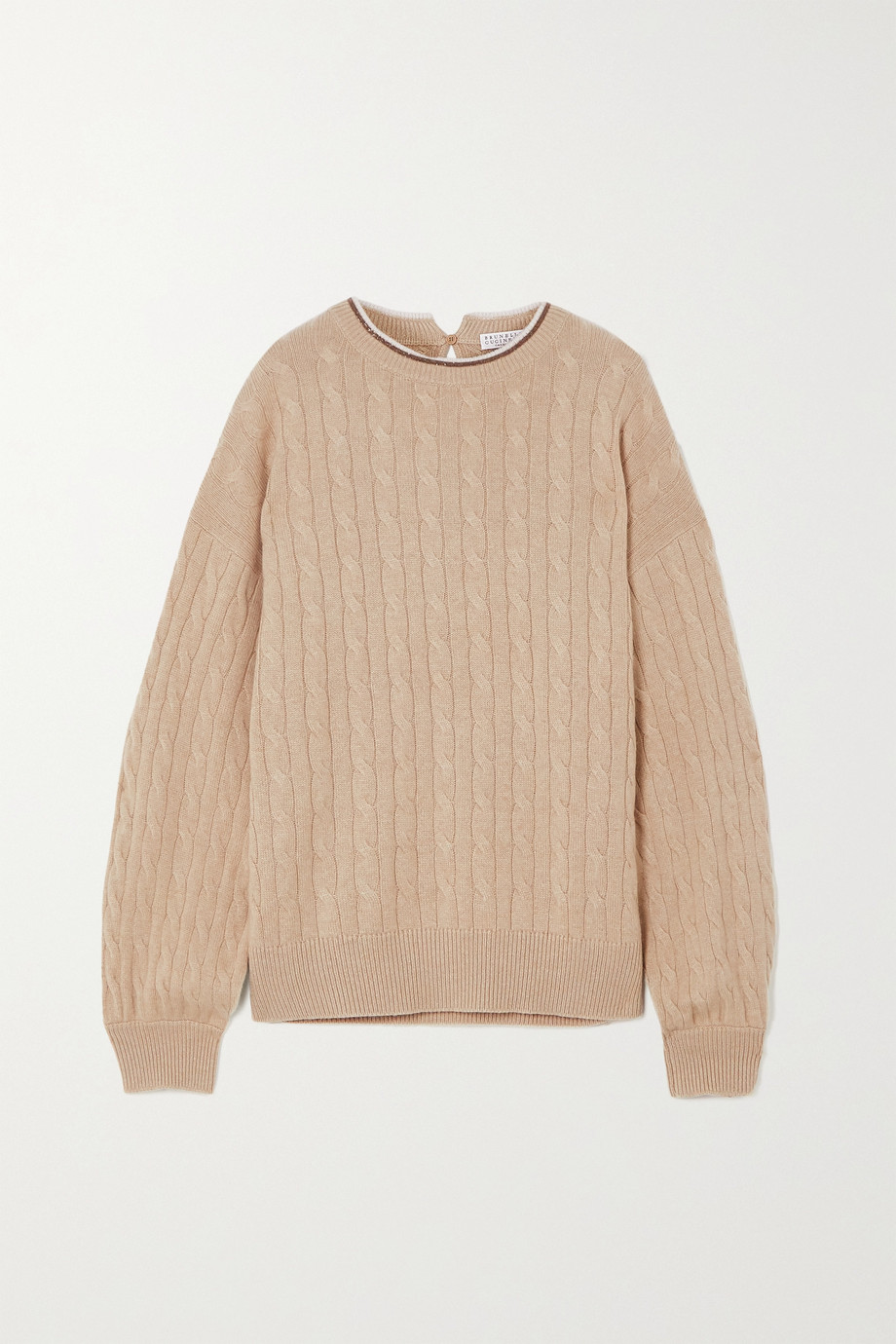 Brunello Cucinelli Bead-embellished cable-knit cashmere sweater