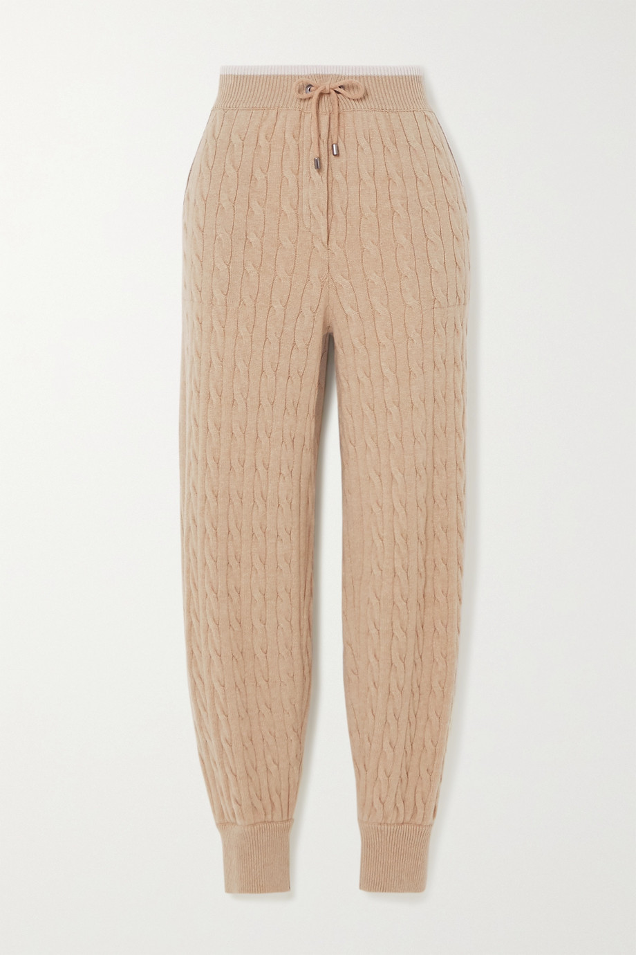 Brunello Cucinelli Bead-embellished cable-knit cashmere track pants