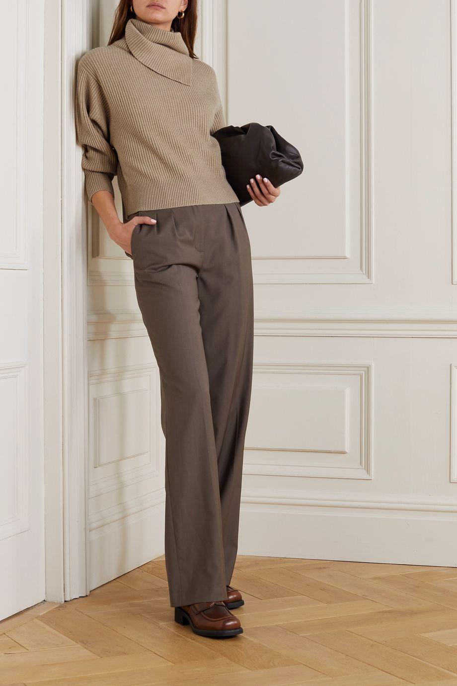Brunello Cucinelli Pullover aus geripptem Kaschmir mit Stehkragen und Zierperlen