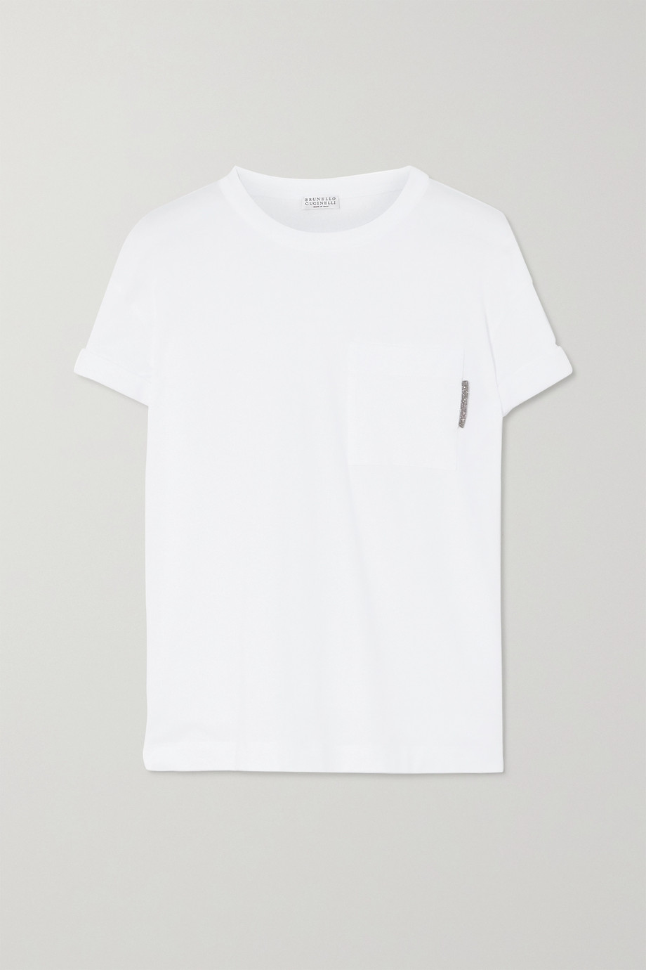 Brunello Cucinelli T-shirt en jersey de coton stretch à perles