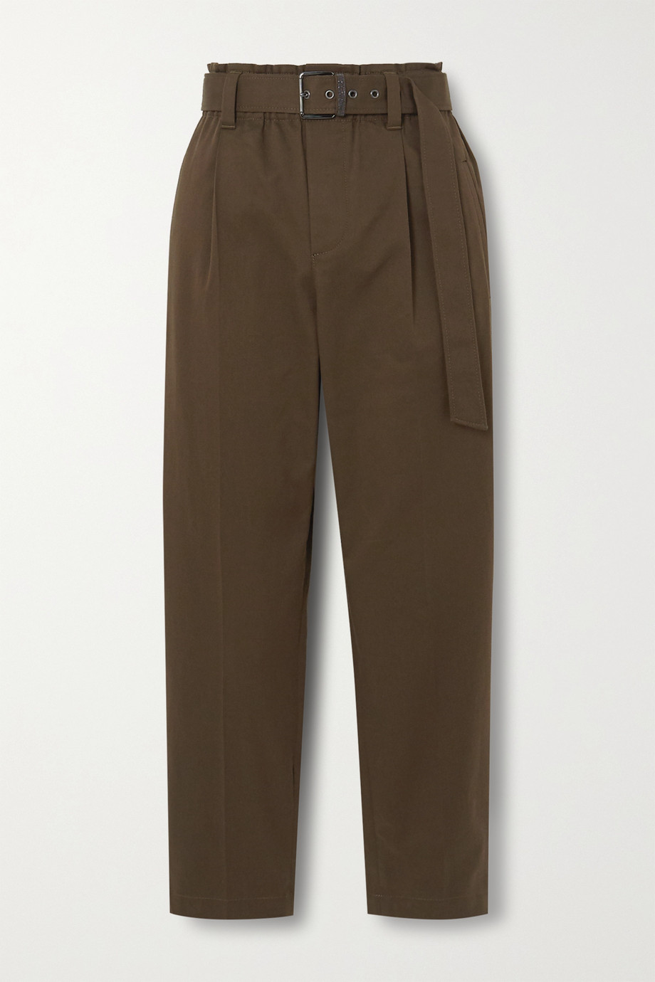 Brunello Cucinelli Bead-embellished belted cotton-blend twill tapered pants