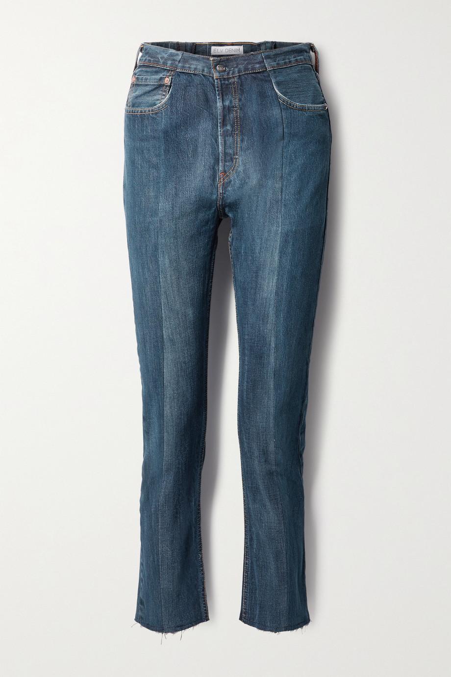 E.L.V. Denim + NET SUSTAIN The Twin zweifarbige hoch sitzende Jeans mit geradem Bein und Fransen