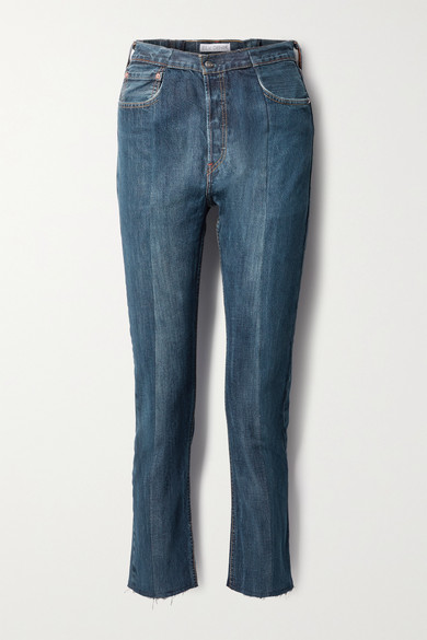 E.l.v. Denim NET SUSTAIN THE TWIN FRAYED TWO-TONE HIGH-RISE STRAIGHT-LEG JEANS