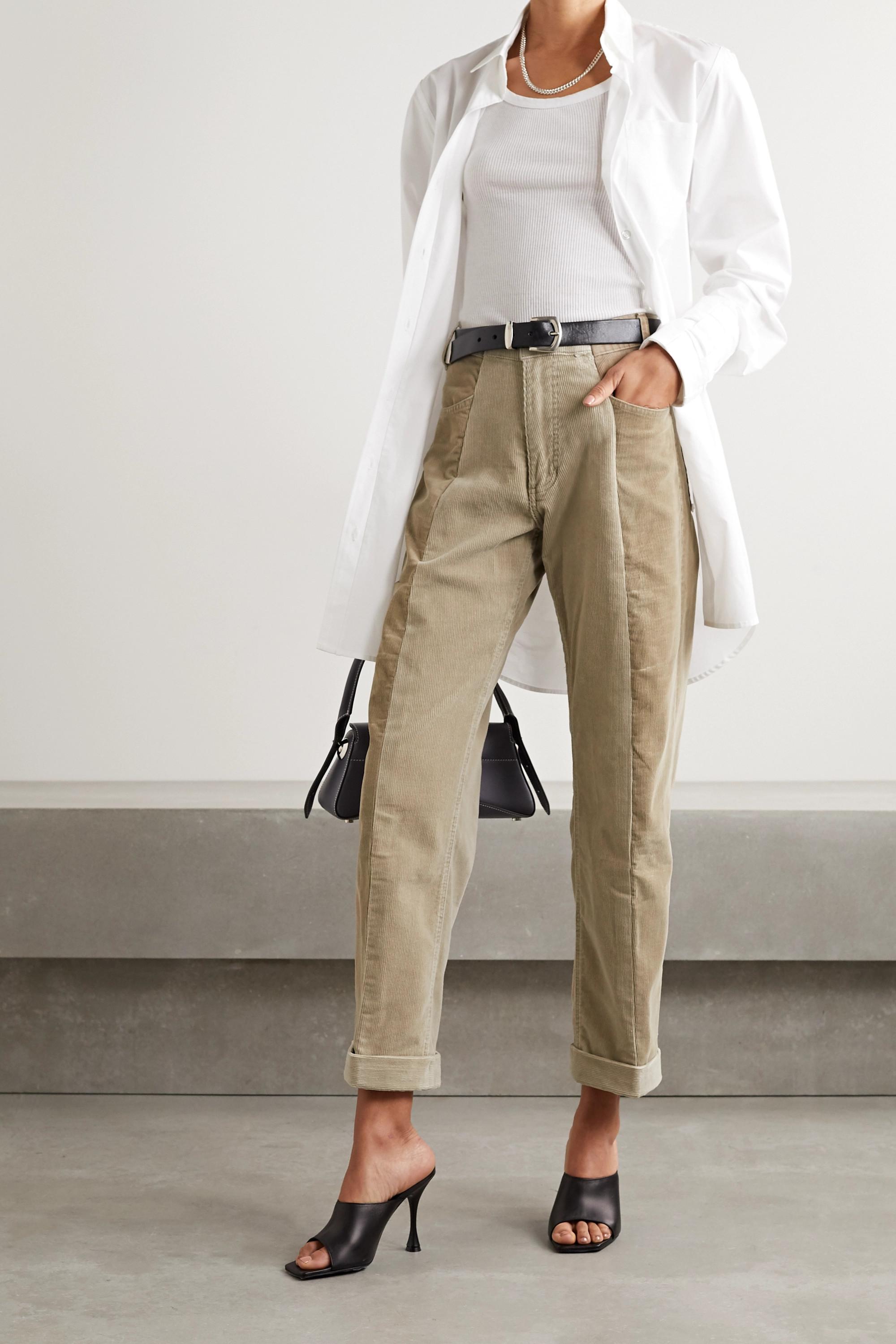 E.L.V. Denim Two-tone cotton-corduroy boyfriend pants