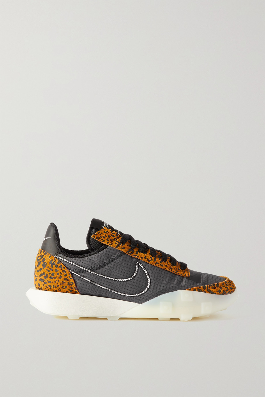 Nike Waffle Racer 2X ripstop and leopard-print suede sneakers