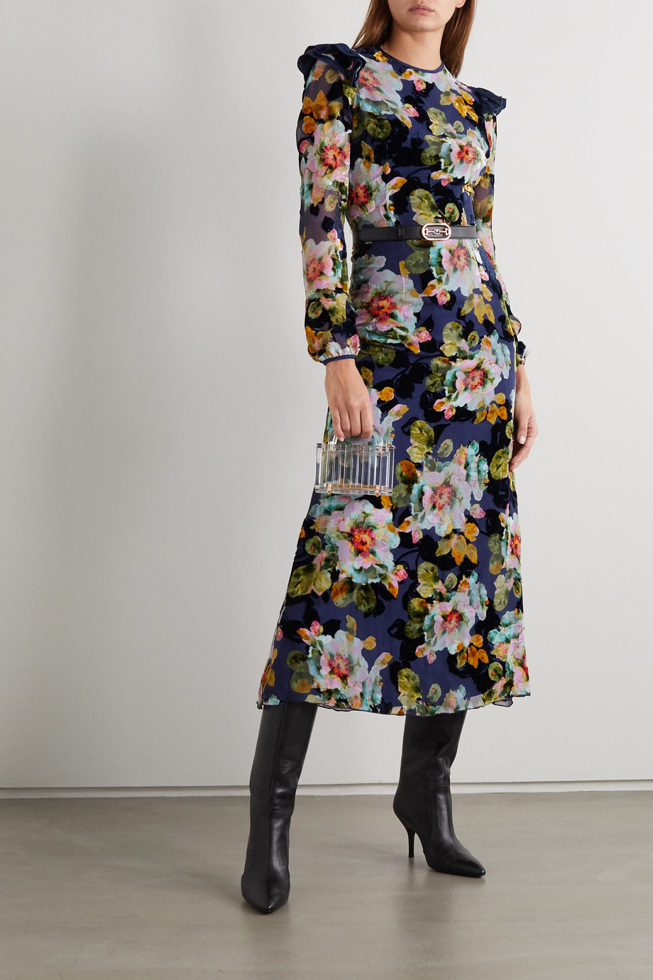 Rodarte Ruffled floral-print devoré-chiffon midi dress