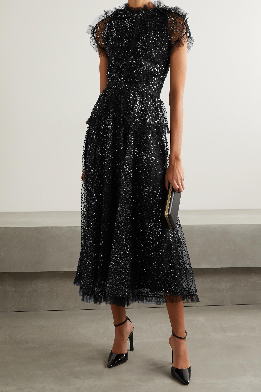 Rodarte Belted ruffled metallic flocked tulle midi dress