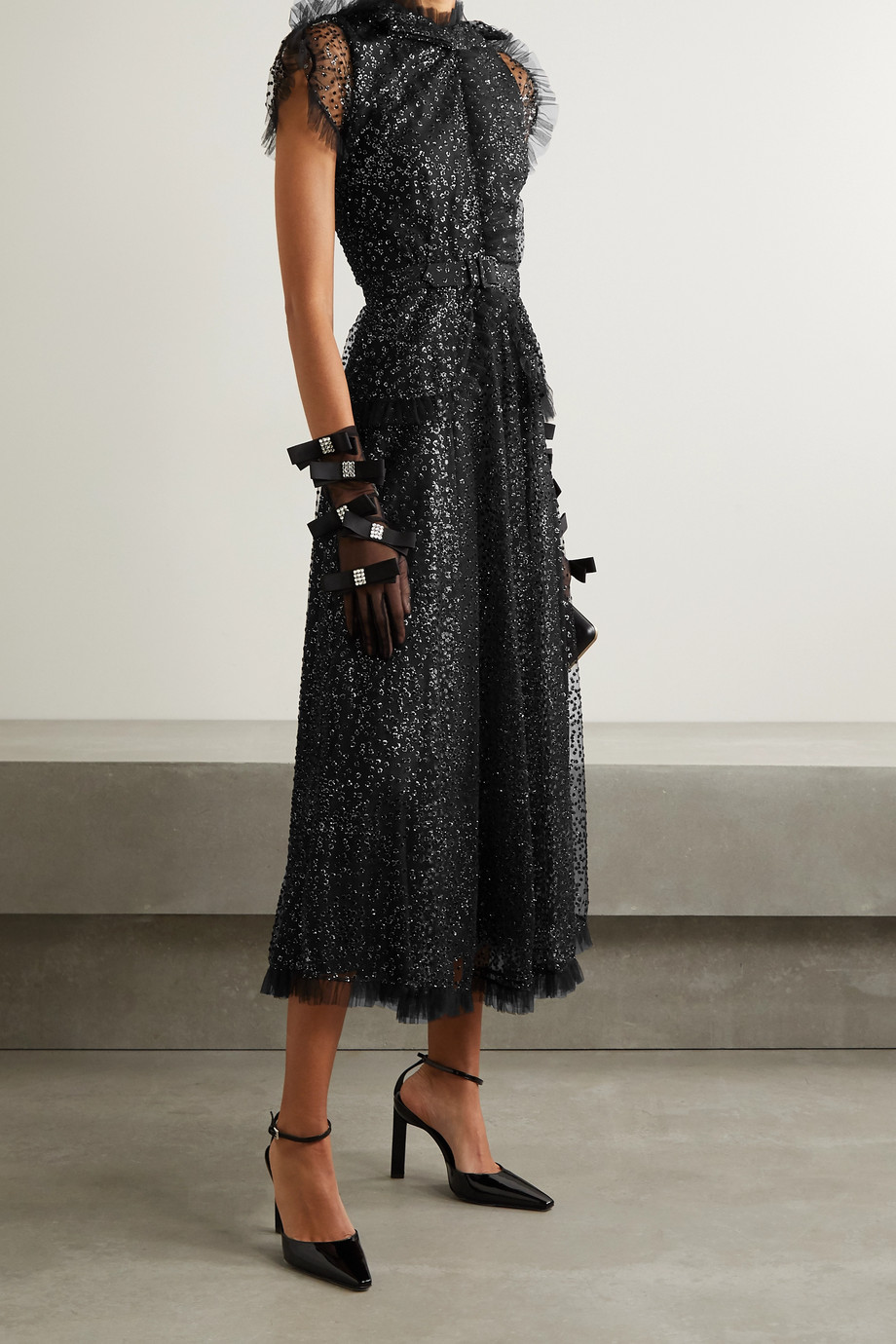Rodarte Belted ruffled metallic flocked tulle midi dress