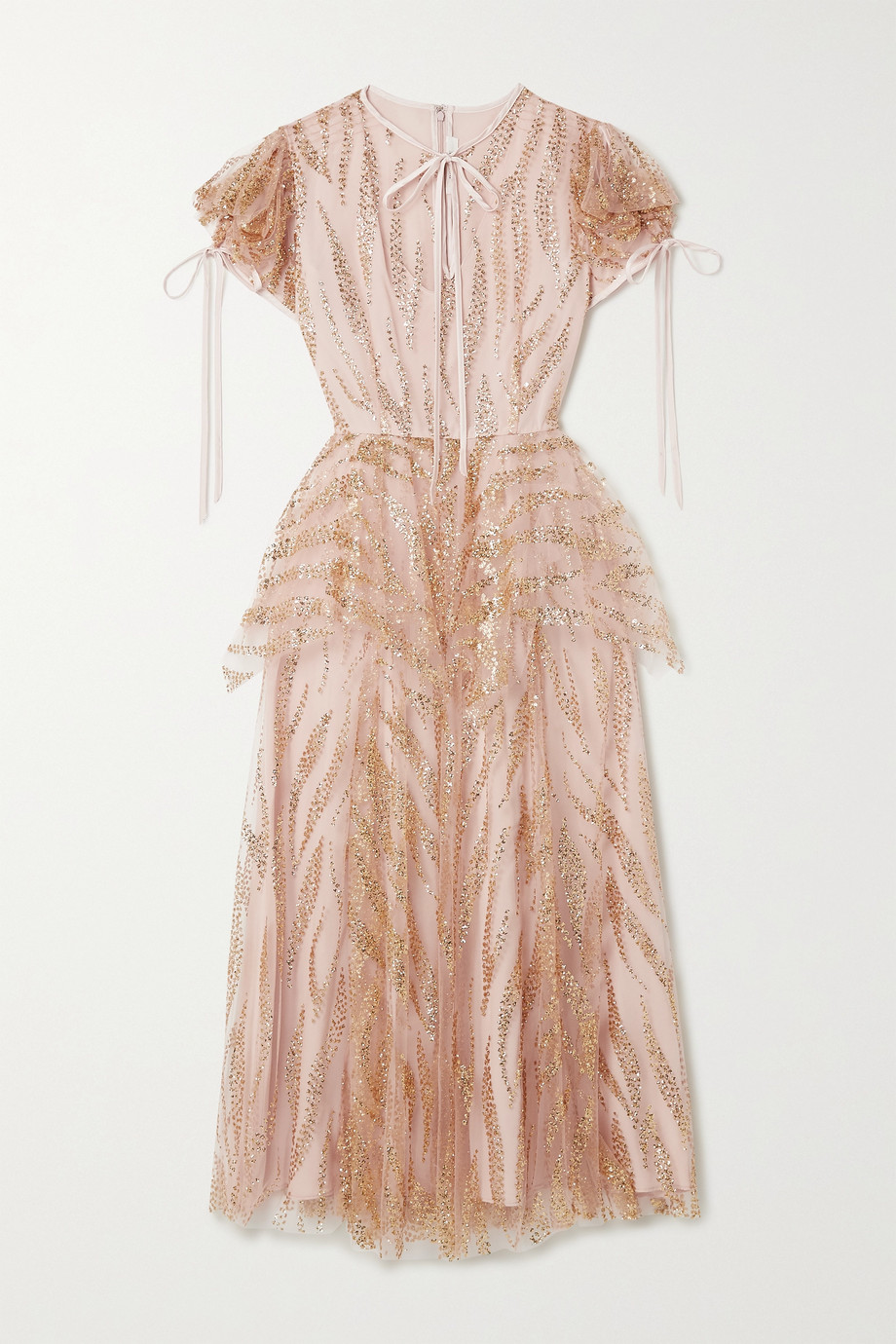 Rodarte Satin-trimmed glittered tulle midi dress