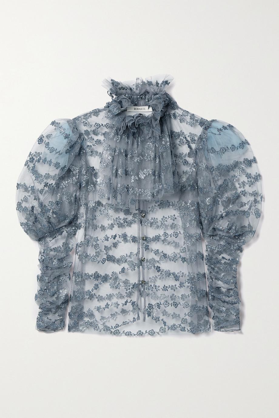Rodarte Gathered glittered tulle blouse
