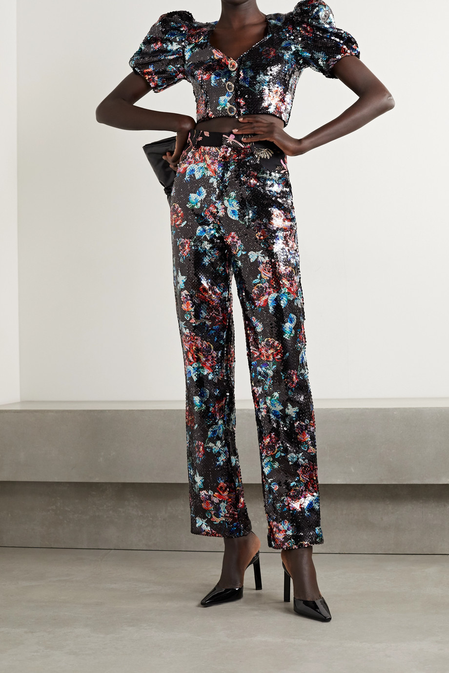 Rodarte Brocade-trimmed sequined tulle straight-leg pants