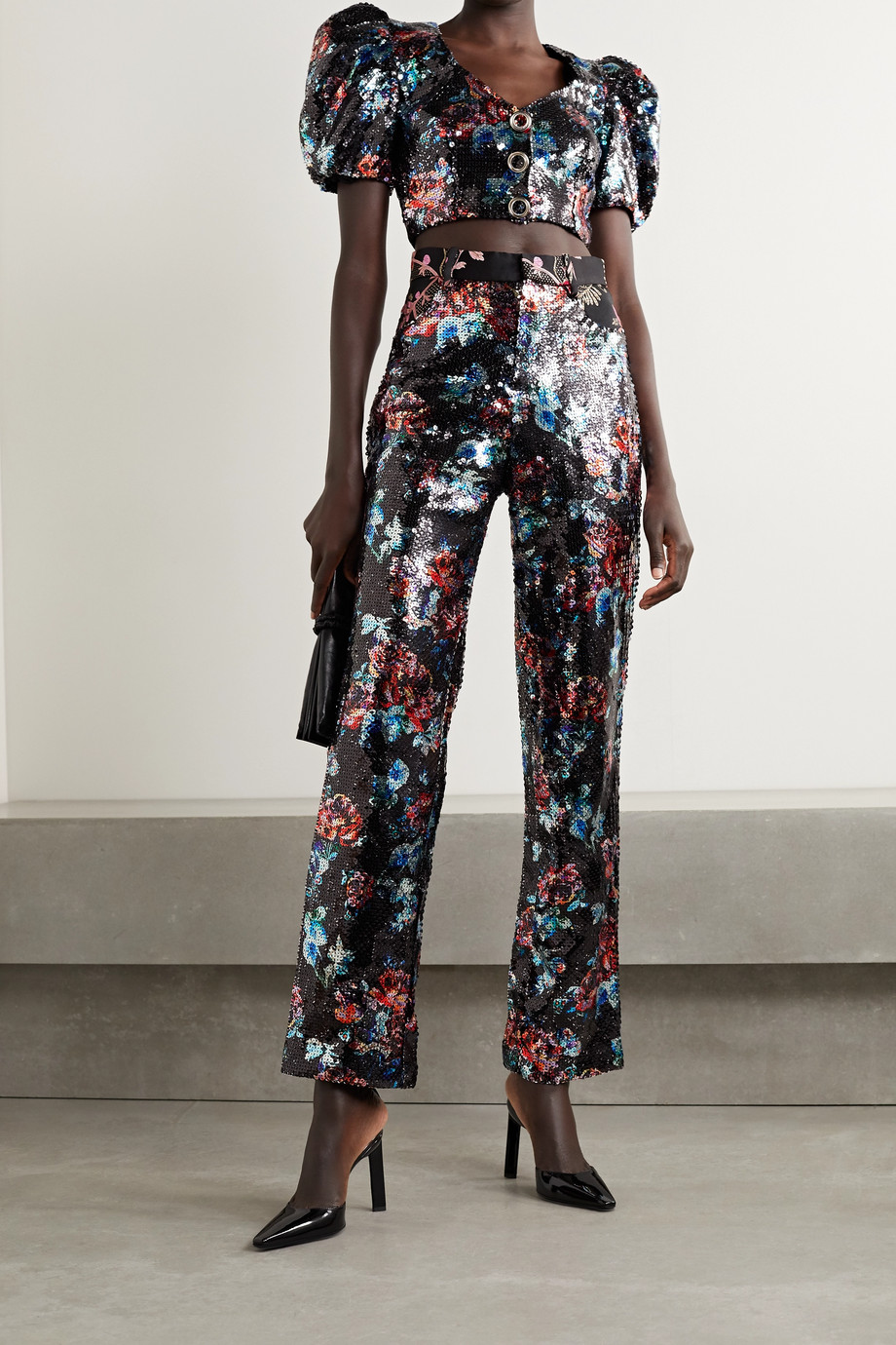Rodarte Cropped sequined tulle top