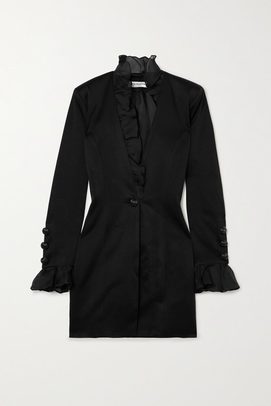 MARTIN MARTIN Marine ruffled silk organza-trimmed satin mini dress