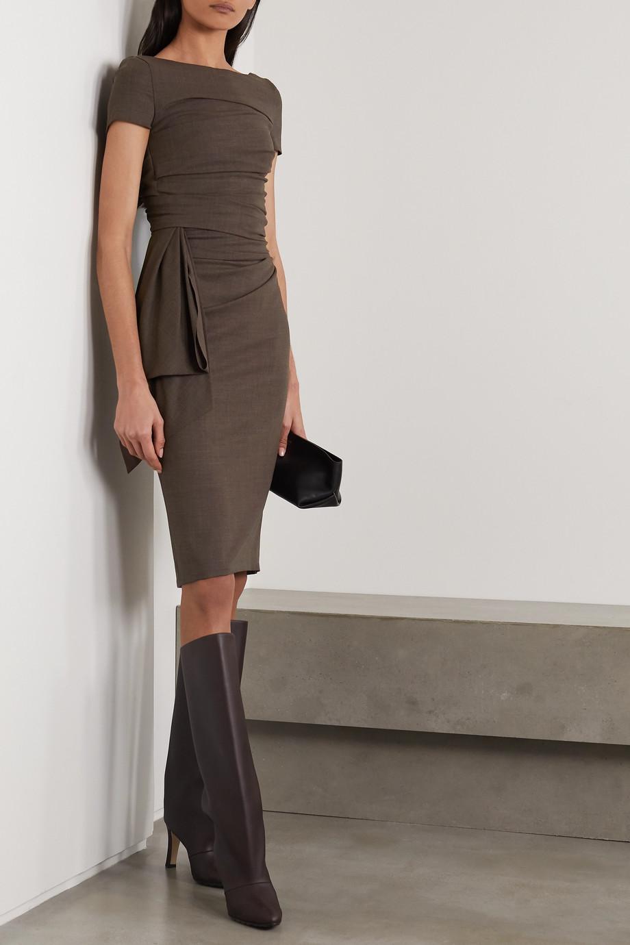 Talbot Runhof Bouvier draped gathered wool-blend voile dress