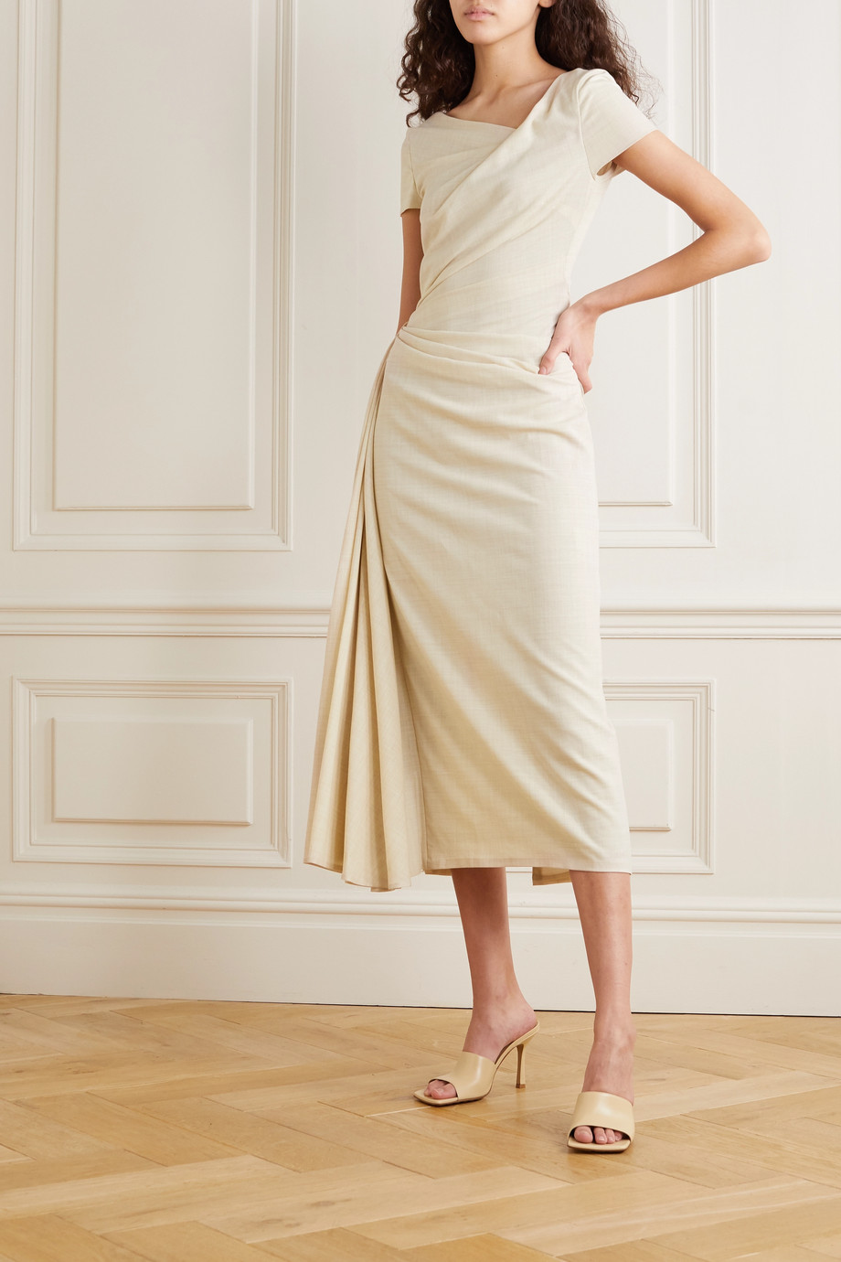 Talbot Runhof Roya draped wool-blend voile midi dress