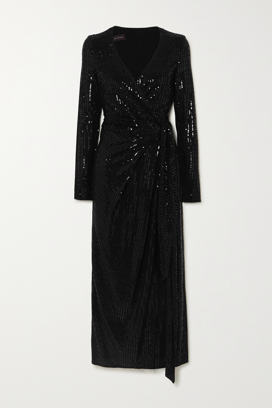 Talbot Runhof Botin 亮片金属感弹力绉纱裹身中长连衣裙