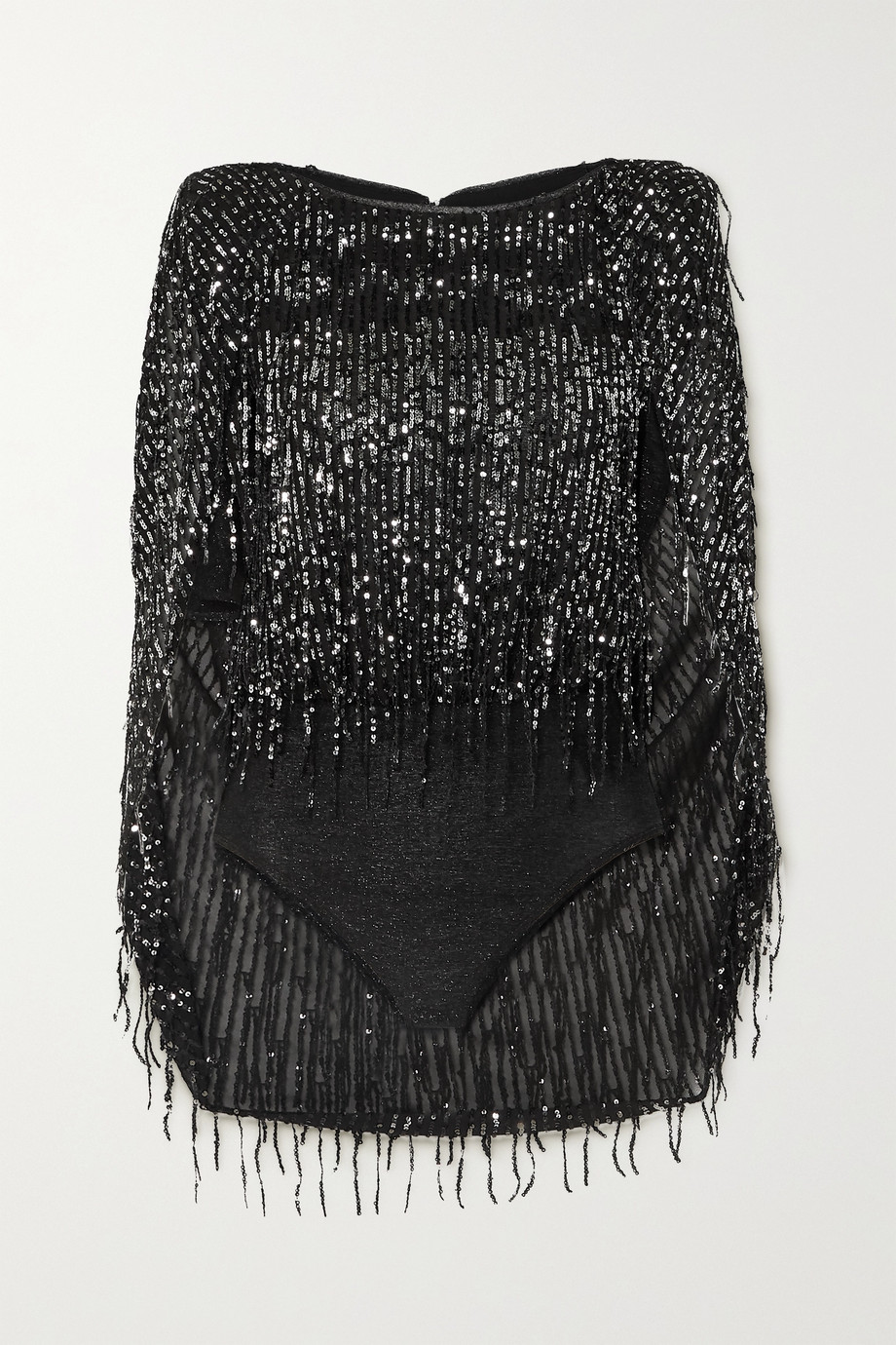 Talbot Runhof Tadashi cape-effect sequin-embellished glittered stretch-knit bodysuit