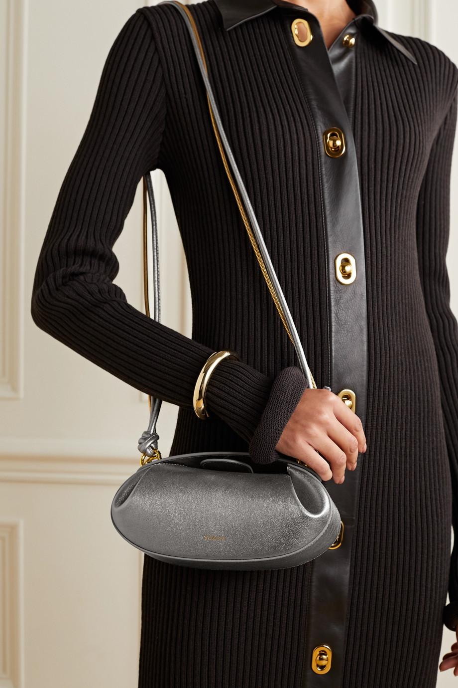 Yuzefi Dinner Roll metallic leather shoulder bag