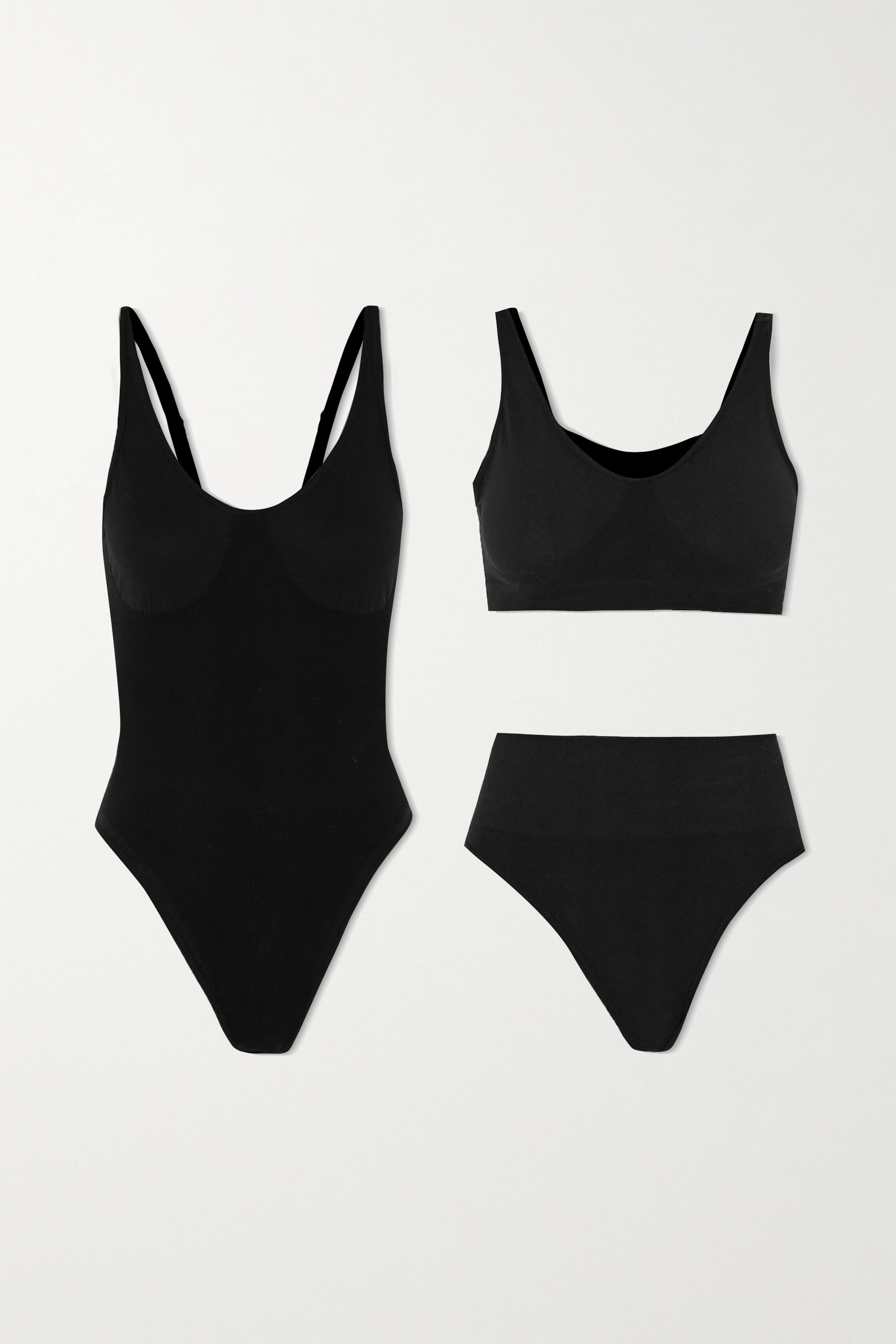 Skin The Solutions Kit ribbed organic cotton-blend bodysuit, bra and thong set