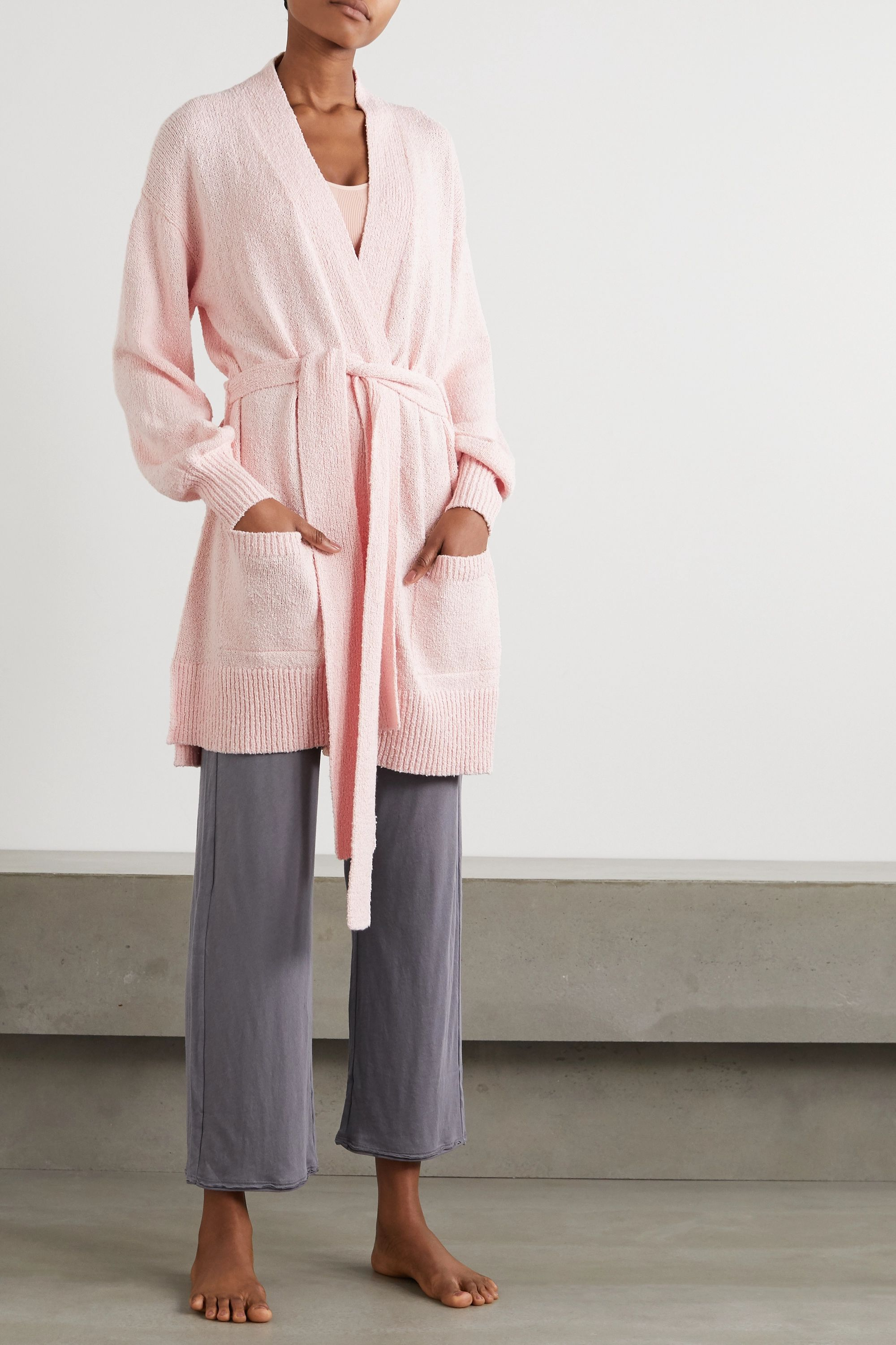 Skin Marlee 配腰带有机棉质比马棉质毛巾布开襟衫