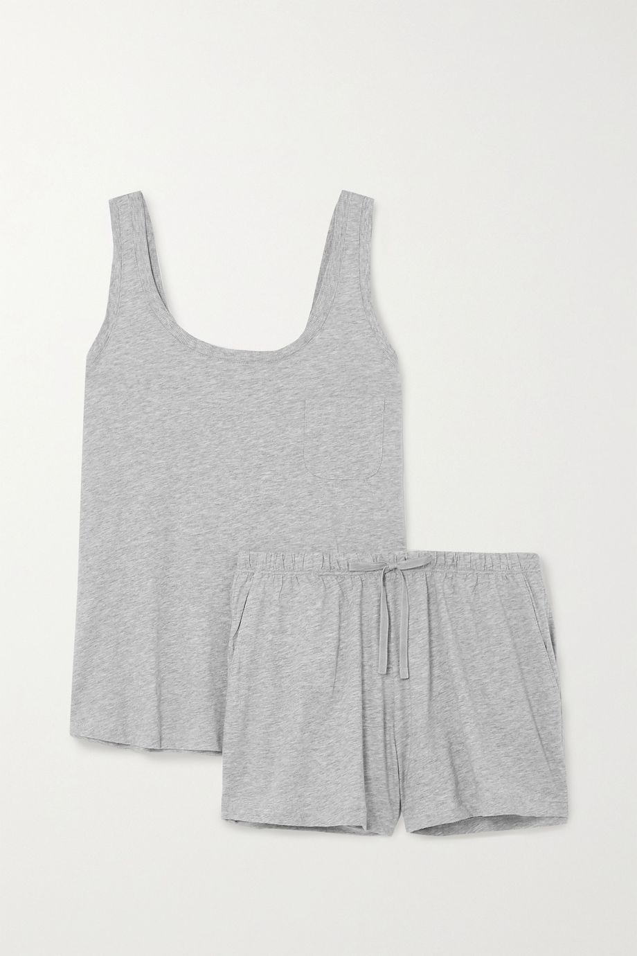 Skin Mélange Pima cotton-jersey pyjama set