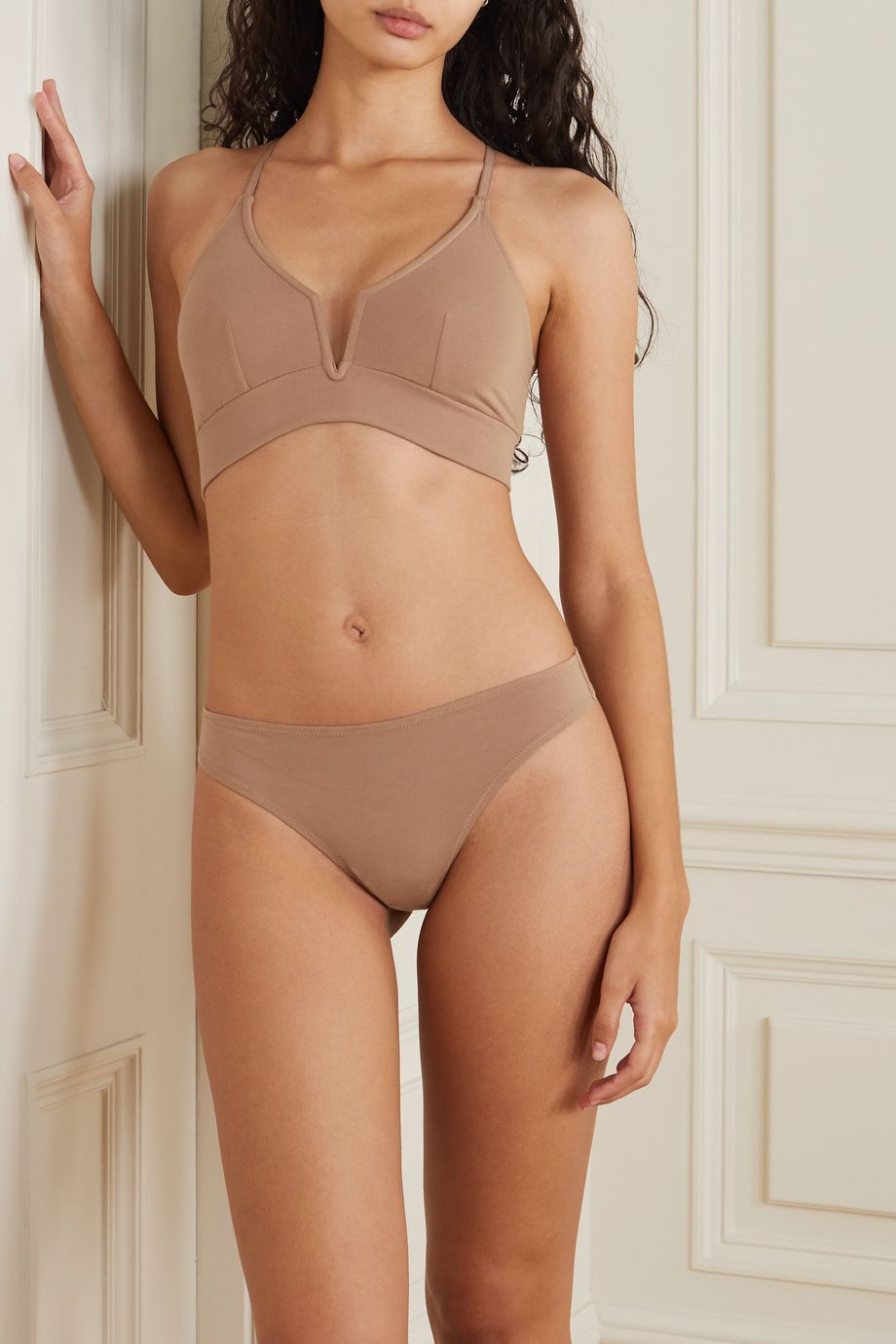 Skin Garcelle stretch organic Pima cotton-jersey soft-cup bra