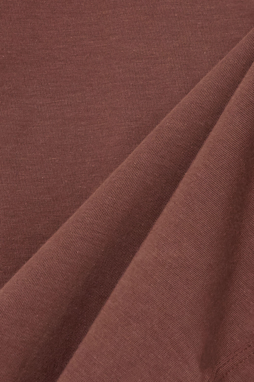 Brown Aurora Cropped Stretch Organic Pima Cotton-jersey Top | Skin