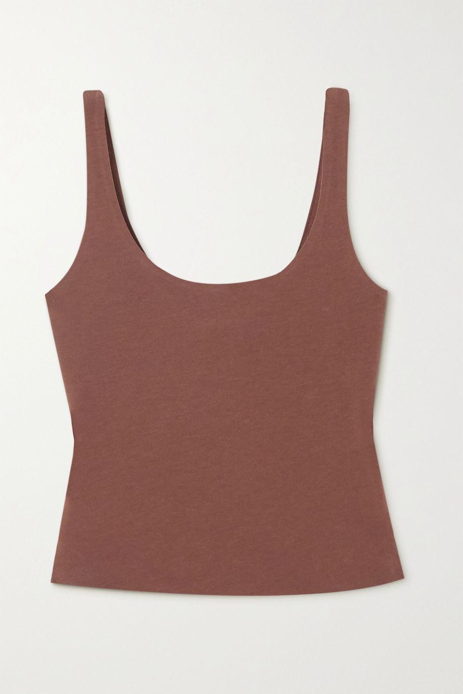 Skin Aurora cropped stretch organic Pima cotton-jersey top