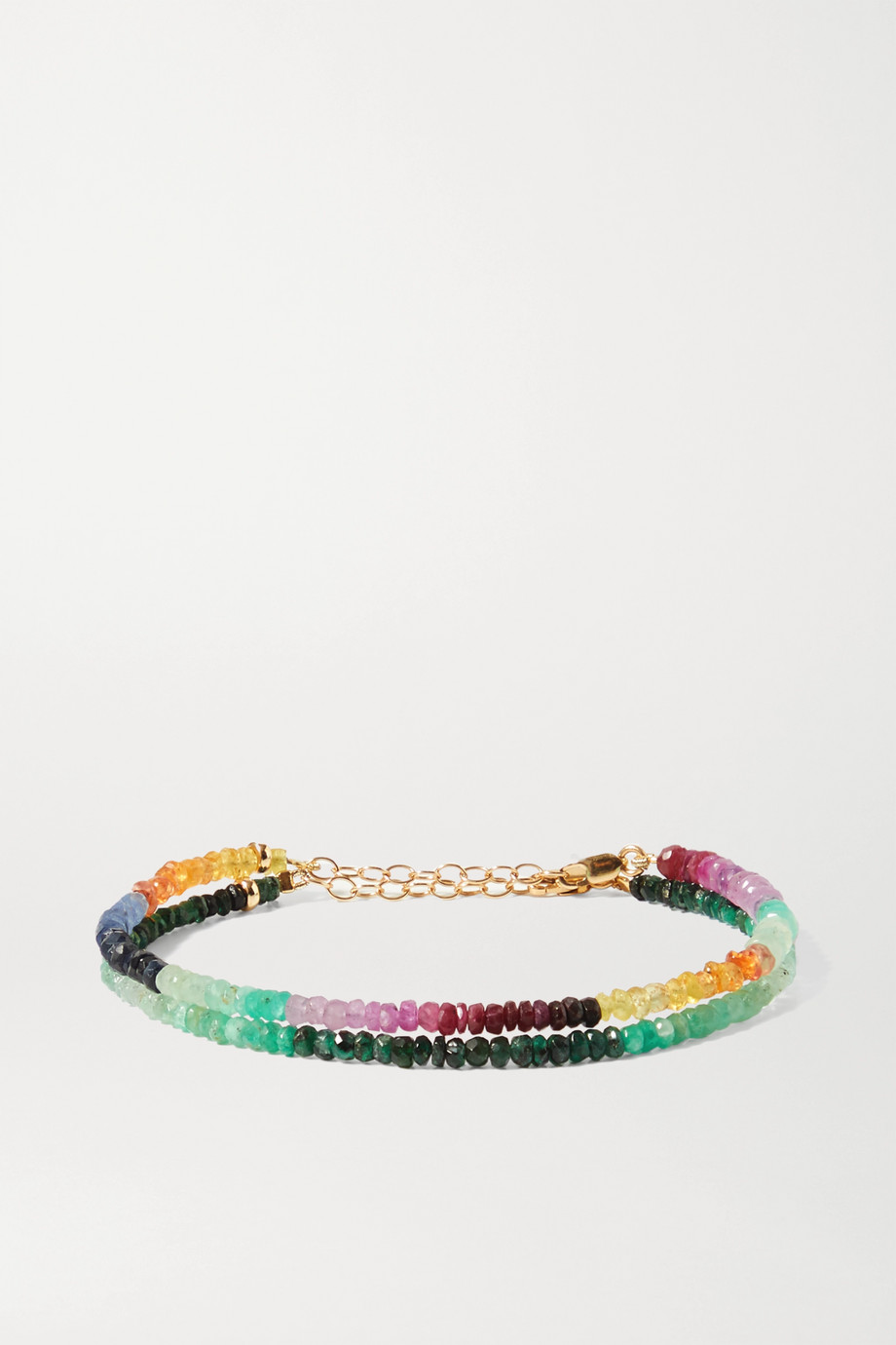 JIA JIA Set of two 14-karat gold, sapphire and emerald bracelets