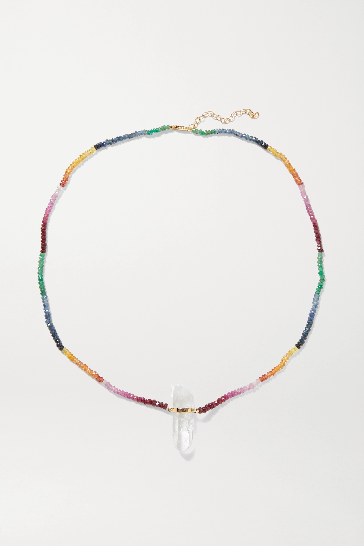 JIA JIA 14-karat gold, sapphire and quartz necklace