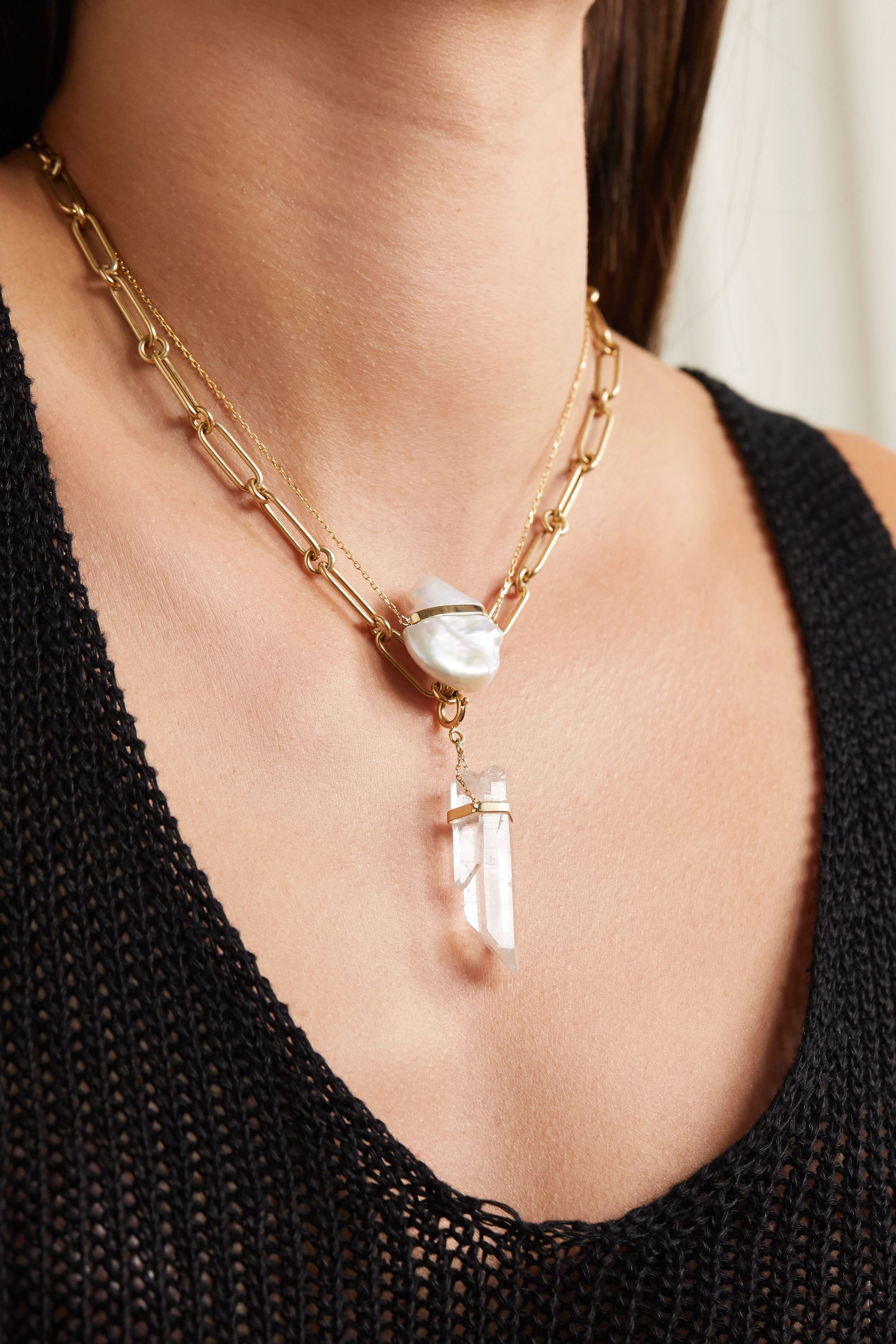 JIA JIA 14-karat gold quartz necklace