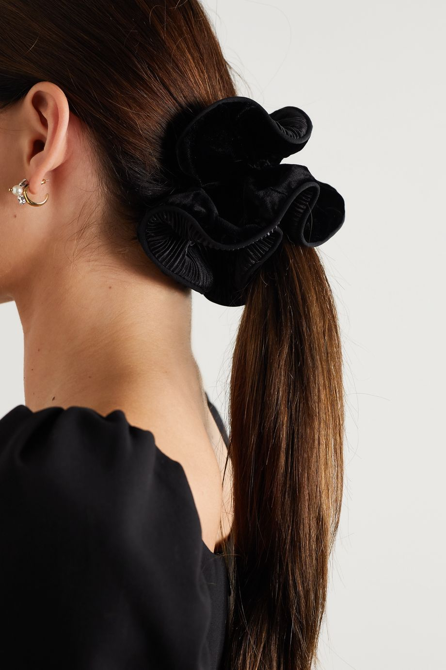 Sophie Buhai Germain plissé-chiffon and velvet hair tie