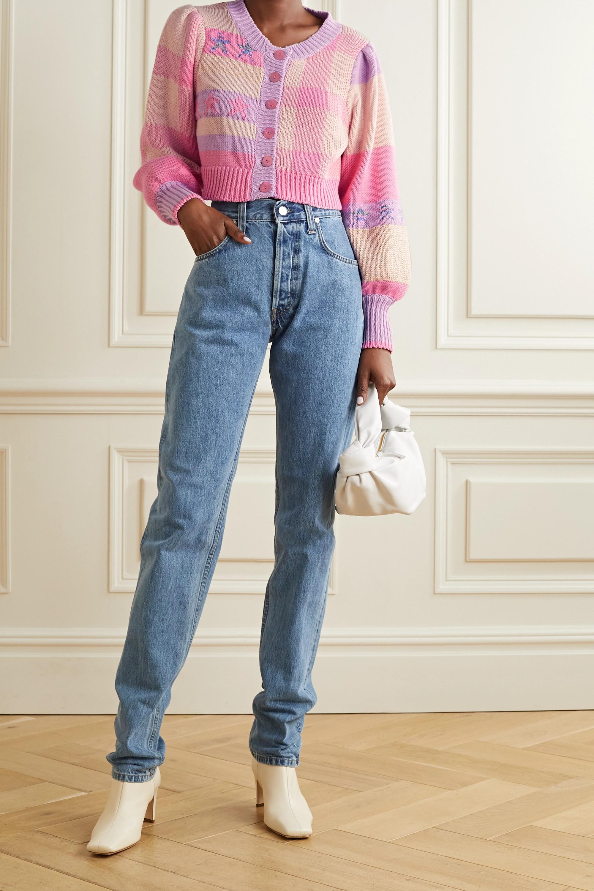 LoveShackFancy Bedford cropped cotton-blend jacquard cardigan