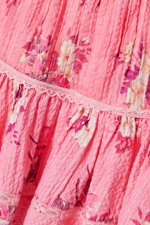 LoveShackFancy Jennings crochet-trimmed floral-print cotton-seersucker mini skirt