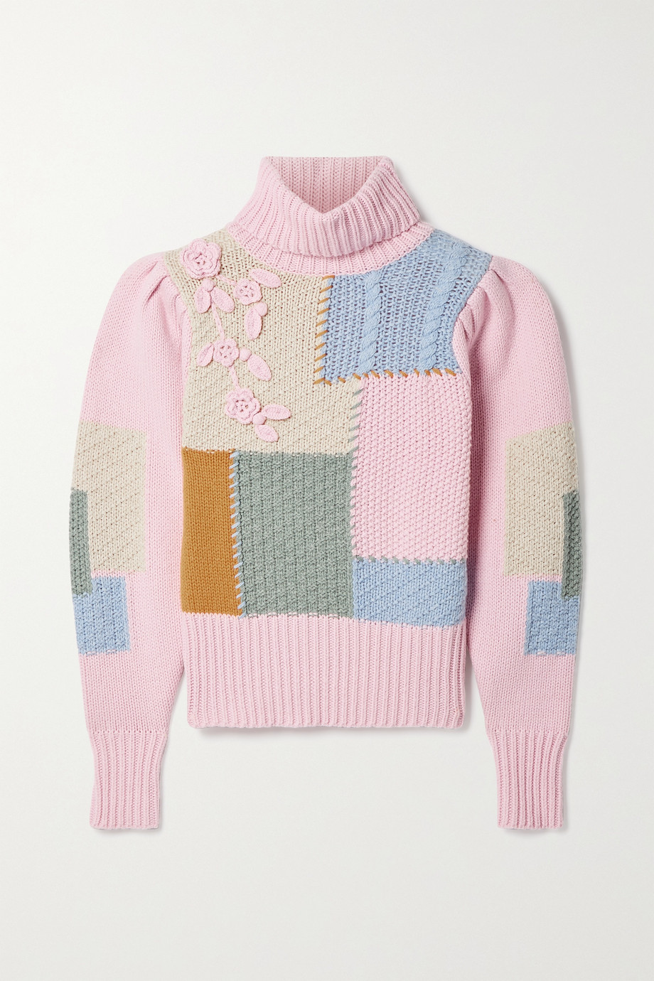 LoveShackFancy Allan appliquéd patchwork knitted turtleneck sweater