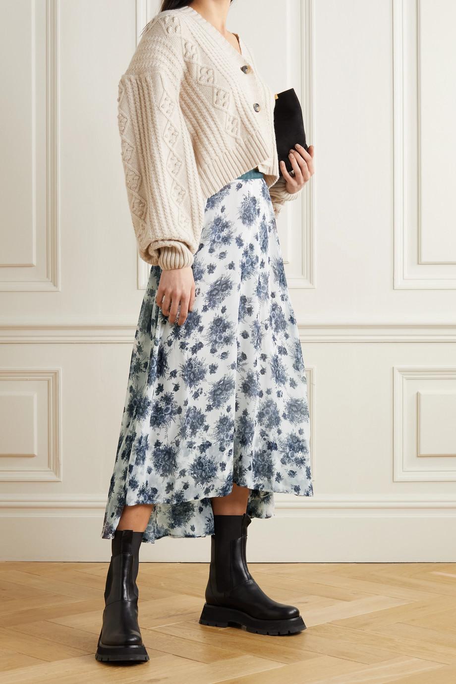 LoveShackFancy Dasha asymmetric velvet-trimmed floral-print chiffon maxi skirt