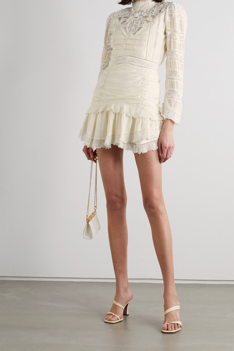 LoveShackFancy Harmon ruched crocheted silk mini dress