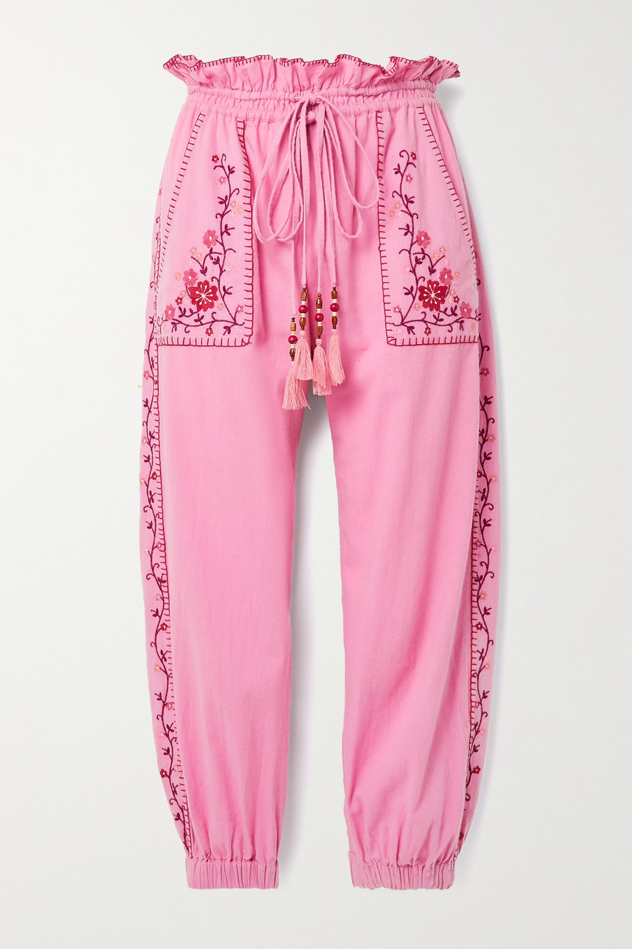 LoveShackFancy Saunders embroidered cotton-voile track pants