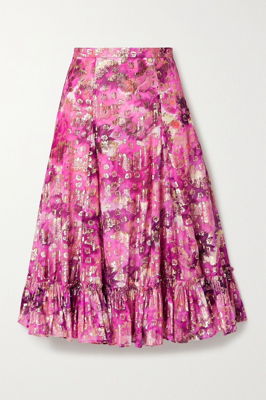 LoveShackFancy Lil ruffled printed fil coupé voile midi skirt