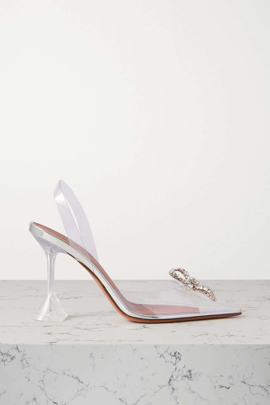 Amina Muaddi Rosie crystal-embellished bow-detailed PVC slingback pumps