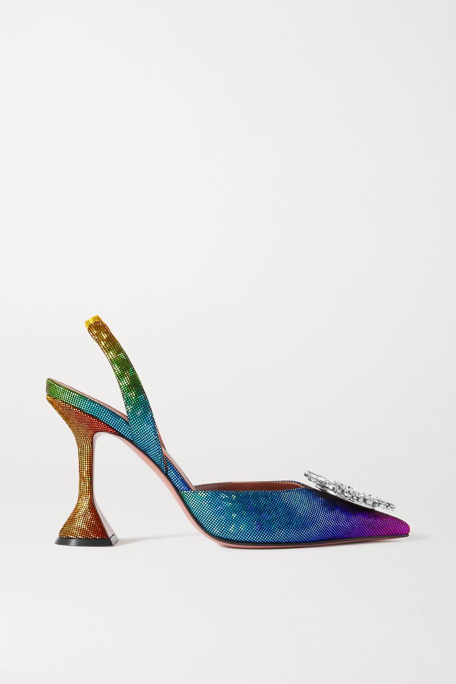 Amina Muaddi Begum 施华洛世奇水晶缀饰金属丝面料露跟高跟鞋